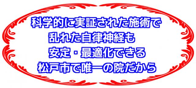 科学的に実証された施術で乱れた自律神経も安定・最適化できる松戸市で唯一の院だから