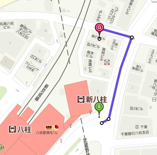 新八柱駅から勝どきビルまでの地図です。